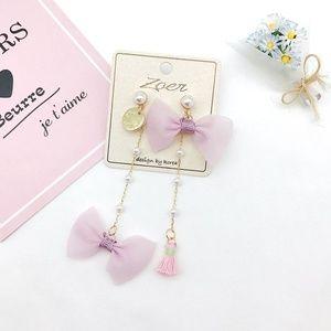 Moving Sale!! Pink Bow Pearl Drop Earrings Kawaii